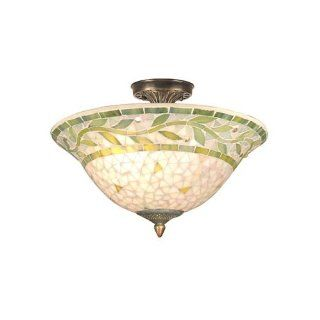 Dale Tiffany TH70655 Mosaic Semi Flush Mount Light, Antique Brass and Mosaic Shade   Close To Ceiling Light Fixtures