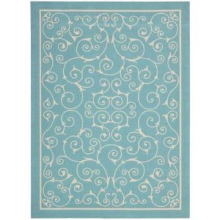 Nourison Home and Garden Pavilion Light Blue 10 ft. x 13 ft. Indoor/Outdoor Area Rug 112002