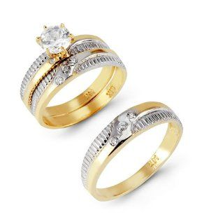 14k Solid Two Tone Gold Ribbed Band CZ Wedding Trio Set Jewelry