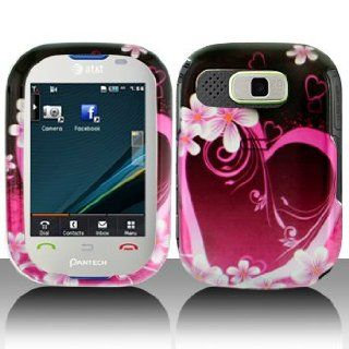 Purple Heart with Flower Snap on Hard Skin Shell Protector Faceplate Cover Case for Pantech Pursuit P9020 + Microfiber Pouch Bag + Case Opener Pick Cell Phones & Accessories