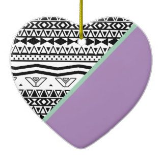 Orchid Jade Color Block Black White Aztec Pattern Christmas Ornament