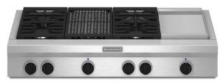 Kitchenaid KGCU484VSS Commercial Style Gas Cooktop Appliances