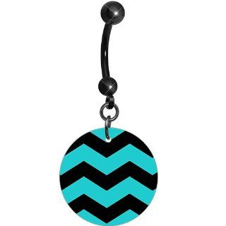Turquoise Black Chevron Dangle Belly Ring Body Candy Jewelry