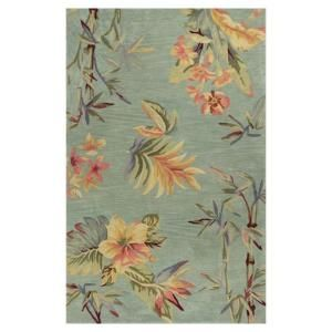 Kas Rugs Tropic Garden Blue/Cream 5 ft. 3 in. x 8 ft. 3 in. Area Rug SPA319053X83
