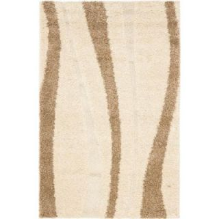 Safavieh Shag Cream/Dark Brown 4 ft. x 6 ft. Area Rug SG451 1128 4