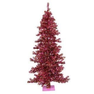 9' Mardi Gras Pre Lit Wide Cut Laser Tinsel Christmas Tree   Purple Lights