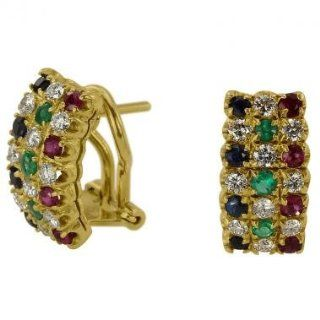 Wide Diamond Half Hoop Earrings With 2.10cts Of Fine White Diamonds And Sapphires And Emeralds In 18K Yellow Gold Diamond Huggie Earrings Jewelry