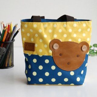 [Bear Yellow] Blancho Applique Kids Fabric Art Mini Shopper Bag/Tote Bag Small Size (9.4*2.7*7.8)  Kids Small Duffle Bag  Baby