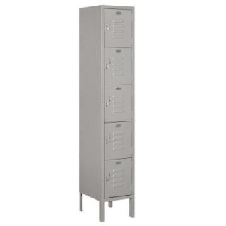 Salsbury Industries 65000 Series 12 in. W x 66 in. H x 12 in. D Five Tier Box Style Metal Locker Unassembled in Gray 65152GY U