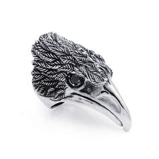 JewelryWe Stainless Steel Biker Men's Large Hawk Eagle Ring Wedding Band Punk Rock Style Jewelry