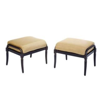 Hampton Bay Madison Patio Ottomans with Textured Golden Wheat Cushions (2 Pack) DISCONTINUED 13H 001 OT PR