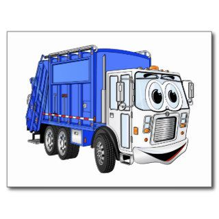 Blue Smiling Cartoon Garbage Truck Post Card