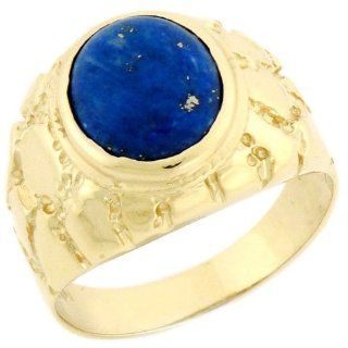 14k Solid Yellow Gold Oval Lapis Nugget Mens Ring Jewelry