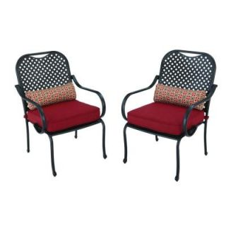 Hampton Bay Fall River Patio Dining Chair with Dragon Fruit Cushion (2 Pack) DY11034 D R