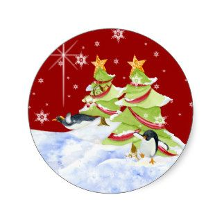 Winter Whimsy Cute Polar Bear Babies in Snow Star Stickers