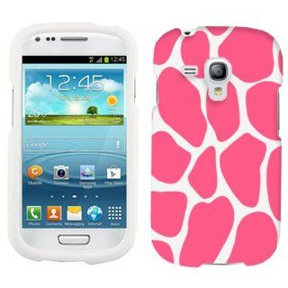Samsung Galaxy S3 Mini Pink Giraffe Print on White Cover Case Cell Phones & Accessories