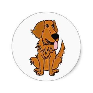 AA  Funny Golden Retriever Dog Cartoon Round Stickers