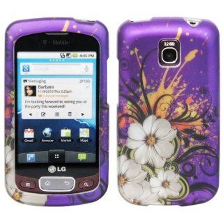 Purple Hawaiian White Flower Green Vine Orange Paint Design Rubberized Snap on Hard Shell Cover Protector Faceplate Cell Phone Case for T Mobile LG Optimus T P509 / LG Thrive/ AT&T LG Phoenix P505 + Clear LCD Screen Guard Film Cell Phones & Access