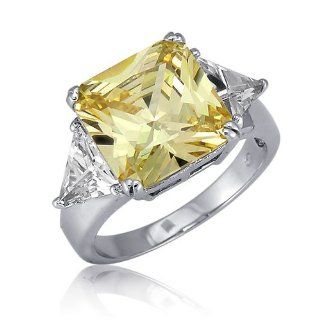 Sterling Silver 3 Stone Canary Radiant Cut Cubic Zirconia CZ Fashion Ring Jewelry