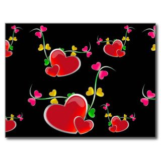 24jpg RED HEART VINES LOVE HOT PINK YELLOW GREEN B Postcards