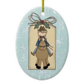 Cowgirl Riding Horse Gift Tag Keepsake Ornament
