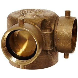 "Dixon Valve 90SCS4025F Cast Brass Single Clapper Siamese Fire Equipment, 90 Degree Bottom Outlet, 4"" NPT Female x 2 1/2"" NST (NH) Female, 250 psi Pressure Fire Hose Fittings"