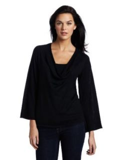 525 America Women's Cowl Neck Sweater with Bell Sleeve, Black, Small Pullover Sweaters
