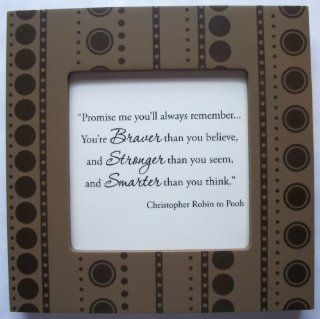 "Kindred Hearts Inspirational Quote Frame (6 x 6 Brown Dot Pattern) (""Promise me you'll always rememberYou're braver than you believe, and stronger than you seem, and smarter than you think""   Christopher Robin to Pooh)  Other Products"