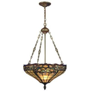 Dale Tiffany Cabrini 3 Light Inverted Hanging Antique Brass Pendant with Art Glass Shade TH12223