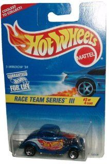 Mattel Hot Wheels 1996 Race Team Series III 164 Scale Die Cast Metal Car # 3 of 4   Metallic Blue '34 Ford 3 Window Coupe   DRAG STRIP READY (Collector #535) Toys & Games
