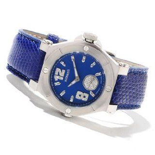 Renato Ladies Luxury Swiss Diamond Blue Dial Leather Strap Watches