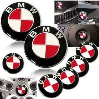 1997 2003 BMW E39 525 528 530 535 540 Red Emblems with Wheel Caps Set Automotive