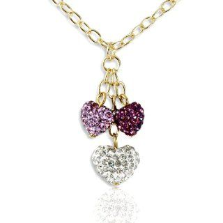 Adorable Children's Triple Heart Dangling Pendant Necklace   Pink, Purple and White   18K Gold Plated Jewelry