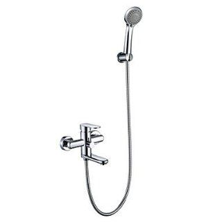 Chrome Finish Tub Faucet with Round Hand Shower (Wall Mount)   Bathtub And Showerhead Faucet Systems