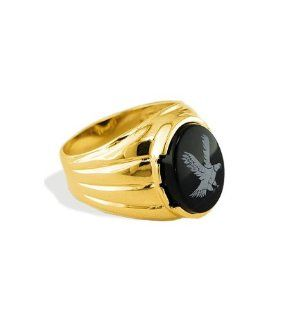 New 14k Yellow Gold Men's Oval Black Onyx Eagle Ring Jewelry