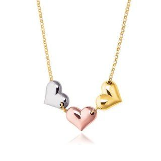14K Tri Color Gold Triple Heart Necklace Jewelry