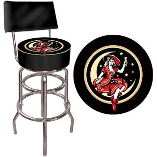 Trademark Global Miller High Life Girl in the Moon Padded Bar Stool with Back