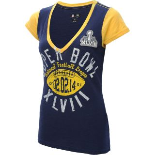 G III Womens Super Bowl XLVIII Layered Look V Neck Cap Sleeve T Shirt   Size