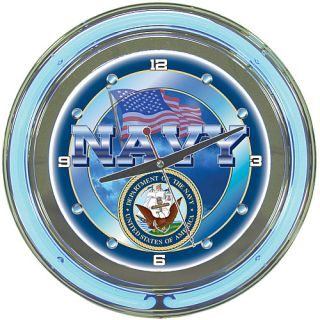 Trademark Global United States Navy Neon Clock (MIL1400 USN)