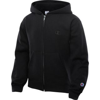 CHAMPION Boys Eco Fleece Full Zip Hoodie   Size Small, Black