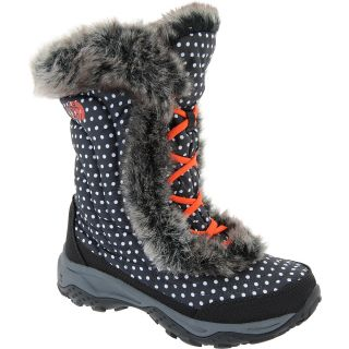 THE NORTH FACE Girls Nuptse Faux Fur II Winter Boots   Size 7, Black/polka Dot