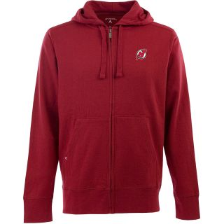 Antigua Mens New Jersey Devils Fleece Full Zip Hooded Sweatshirt   Size Large,