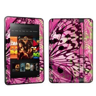 Kindle Fire HD 7 inch Tablet Decal Vinyl Skin   Pink Butterfly Swirl By Skinguardz Electronics