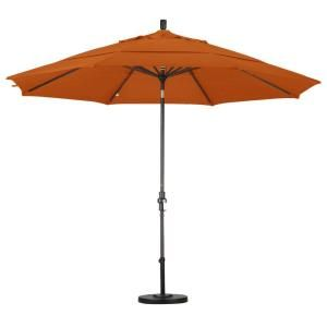 California Umbrella 11 ft. Aluminum Collar Tilt Double Vented Patio Umbrella in Tuscan Pacifica GSCU118117 SA17 DWV