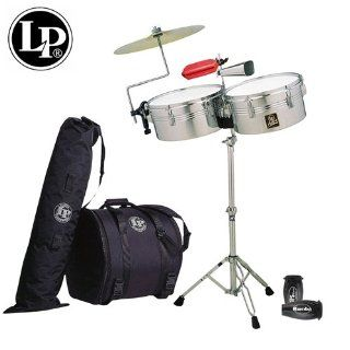 "LP Latin Percussion Aspire Chrome Finish Timbales Set   13"" & 14""   Includes Heavy Duty Stand, LP Aspire Cowbell, Cowbell Holder, Drum Key, Timbale Sticks, LP201BK P LP Rumba Shaker, LP1207 Jamblock, LPES7 Salsa Cowbells, LP539 BK Gig Bag Se"