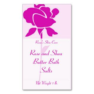 Custom Bath Body Care Product Tag   Pink Rose Business Card Template