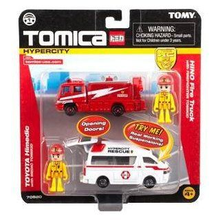 Tomica Hypercity Dual Die Cast Truck Set   Hino Fire Truck and Toyota Himedic Toys & Games