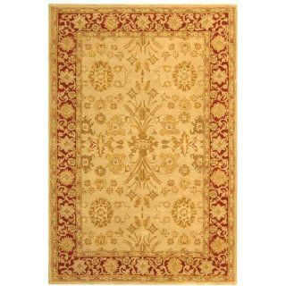 Safavieh AN551A 9 Feet 6 Inch by 13 Feet 6 Inch Anatolia Collection Handmade Hand Spun Wool Area Rug, Ivory and Red