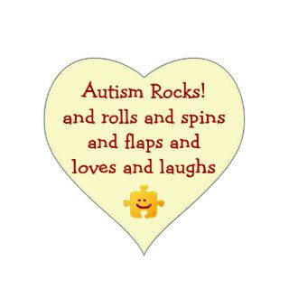 Autism Rocks Heart Sticker