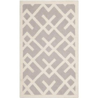 Safavieh Dhurrie Collection DHU552G 210 Handmade Wool Area Runner, 2 Feet 6 Inch by 10 Feet, Grey/Ivory   Area Rugs